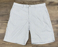 Men's Callaway Gold Shorts Size 34 Plaid White Blue Button Gently Used Polyester