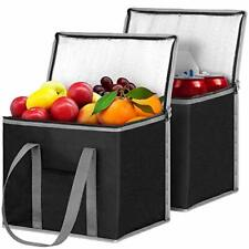 2 Insulated Reusable Grocery Shopping Bags, Xl, Large Picnic Cooler Bag Black
