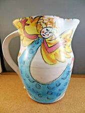 """Whimsical Angel Ceramic Pottery Water Pitcher Signed Linda Woods 7 1/2"""""""