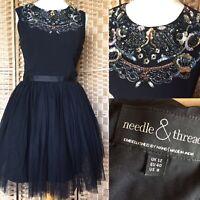 NEEDLE AND THREAD Black Embellished Collar FOLK PROM DRESS Sz 12 Christmas B15