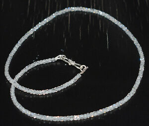 """White Zircon 3mm Round Cut Beads 925 Sterling Silver 20"""" Strand Necklaces UHGF44"""
