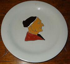 Faïence émaux de Longwy assiette 19éme personnage portrait