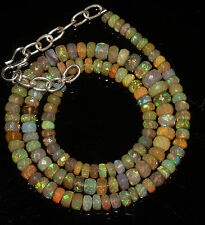 """66 Crts 4.5 to 7 mm 16"""" Faceted Beads necklace Ethiopian Welo Fire Opal 94613"""