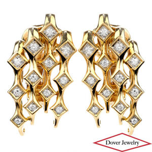 Estate Diamond Platinum 18K Gold Elegant Design Earrings 18.4 Grams NR