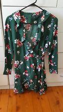 NOBODY'S CHILD Wrap Front Mini Dress Green Floral Boho Size UK 8