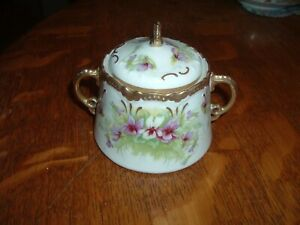 LIMOGES France Elegant Hand Painted Covered Sugar Bowl Purple Violets Old Abbey