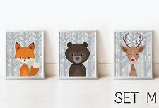 SET 3 Fox Bear Deer Nursery Decor Wall Art Kids Print Animals Picture Baby Room