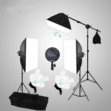 Photo Studio Continuous Softbox Lighting Boom Arm Kit Cube Backdrop Light Stand