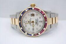 ROLEX SUBMARINER TWO TONE 18K YELLOW GOLD & SS DIAMOND ENCRUSTED WATCH 16613