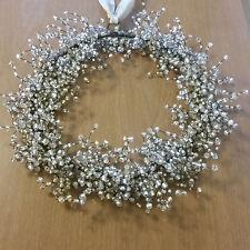 Beaded Elegant Wire Door Wreath with Gray Sash Hanger Wedding Shabby Holiday
