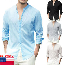 US Men's Linen V Neck Long Sleeve Basic Tee T-shirt Casual Tops Blouse S-XL