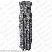 Ladies Womens Skull Print Shirring Bandeau Maxi Dress Plus Sizes 16-22 XL 16-18