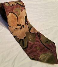 """Mens Necktie Brown Multi Color 100% Silk Floral Business Casual Long 60""""L X 3""""W"""