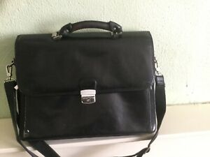 Fine hand made large multi compartment leather briefcase work school laptop bag