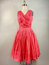 Vintage Miss Elliette Coral Chiffon 1950s Cocktail Dress 36 Bust