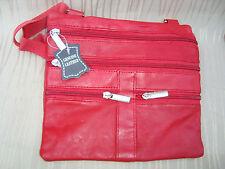 Leder Brustbeutel - rot - italbag Kollektion - Rindnappaleder - Marke Artikel