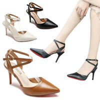 Women Ladies High Heel Slingback Sandals Ankle Strap Work Party Pointy Toe Shoes