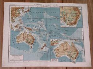 1901 ANTIQUE MAP OF AUSTRALIA OCEANIA PACIFIC GERMAN COLONIES NEW GUINEA HAWAII