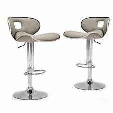 Ashy Grey Adjustable Bar Stool Faux Leather Chrome Frame Set of 2