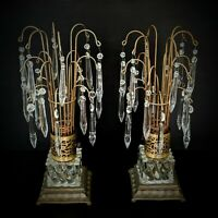 Pair VTG French Brass Prism Fountain Waterfall Boudoir Lamps w/ Nightlight Base