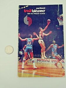 1981-82 PORTLAND TRAILBLAZERS NBA MEDIA GUIDE with vintage print advertisements