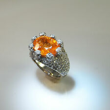 11.65 ctw Huge! Orange Mandarin Spessartite Garnet Diamond Ring 18K Engagement