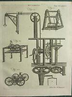 1797 Georgiano Estampado ~Mecánica~ Varios Apparatus Equipment Maquinaria Cogs