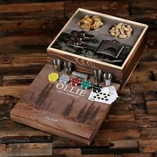 More details for personalised hunting poker gift sets with hip flasks, poker chips, cards, dice