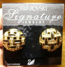 Vintage Signed Swarovski Pave Crystal & Black Enamel Domed Clip Earrings