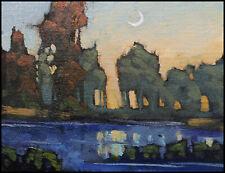 HAWKINS Moon Landscape Original Study Lake Impressionism Oil Painting Art Signed