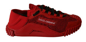 DOLCE & GABBANA Shoes Red Tubular Lace Rubberised Sneakers Womens EU40.5 / US10