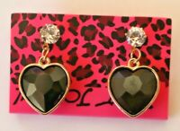 Betsey Johnson Crystal Rhinestone Hearts Post Earrings