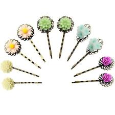 5Pairs Vintage Hair Bobby Clip Bronze Barrettes with Flower Pins for Women Girls