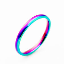 Size 5-13 Titanium Steel Rainbow Band Womens 2MM Engagement Party Tail Ring Gift