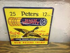 OLD STYLE PETERS 12 GAUGE HIGH VELOCITY SHOT GUN SHELL SIGN PHEASANT  GRAPHIC'S