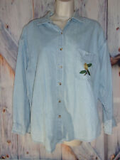 Cotton Express Blues Everyday/Garden women's size M Long sleeve button blouse