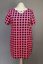 Ladies SIZE 18 pink patterned short sleeve summer shift dress NEW LOOK A308#