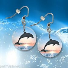 "DOLPHIN 1"" Button Dangle Earrings  FREE PIN   USA Seller"