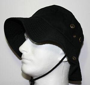 100% Cotton BLACK WIDE BRIM VISOR FISHING CAMPING HIKING SAFARI BOONEY HAT