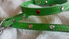 Faux Leather/ Spring Green Rhinestone DOG COLLAR LEAD SET Ex SMALL So Pretty