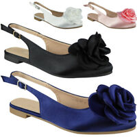 Womens Ladies Satin Sandals Buckle Slingback Strap Summer Low Heel Shoes Size