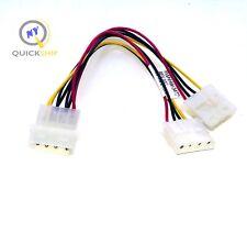 """LOT Twenty (20) 7""""in 4-pin Molex Male to 2x Female Power Y-Splitter Cable"""