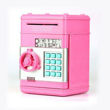 Money Safe Saving Box Cash Coin Piggy Bank Can Mini ATM Kids Toy Girls Gift Pink