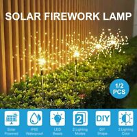 2Pcs Solar Lawn Light LED Firework Starburst Fairy Light Garden Path Lamp Decor