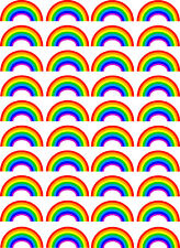 40 Rainbow Edible Wafer Paper Cupcake Toppers (N2)