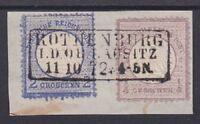 Brustschild Mi Nr. 1, 5 mit R3 Rothenburg 11.10.1872 gest. Briefstück, Dt. Reich