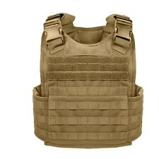 Coyote Brown Military MOLLE Tactical Plate Carrier Assault Vest Rothco 8923