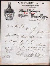 1906 Lebanon Pa - Paul Jones Pure Rye - A M Filbert - Vintage Letter Head Rare