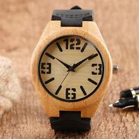 Nature Wood Watches Minimalist Women Leather Quartz Bamboo Wristwatch Bracelet