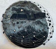 New listing Vintage Cathay Velvet Pillbox Hat With Black Mesh Veil And Rhinestones